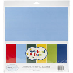 Carta Bella Double-Sided Solid Cardstock 12in x 12in 6 pack - School Days, 6 colours
