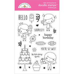Doodlebug Clear Doodle Stamps - Birthday Girl, Hey Cupcake