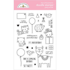 Doodlebug Clear Doodle Stamps - Party Animal-Girl, Hey Cupcake