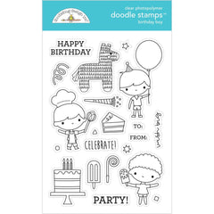 Doodlebug Clear Doodle Stamps - Birthday Boy, Party Time