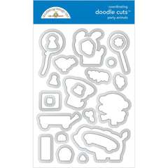 Doodlebug Clear Doodle Stamps - Party Animals Boy, Party Time