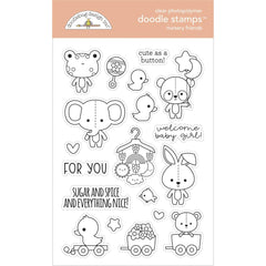Doodlebug Clear Doodle Stamps 4in  x 6in - Nursery Friends, Bundle Of Joy
