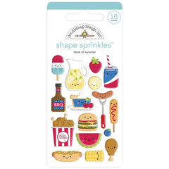 Doodlebug Sprinkles Adhesive Enamel Shapes - Taste Of Summer, Bar-B-Cute