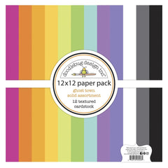 Doodlebug Textured Double-Sided Cardstock 12in x 12in Pack - Ghost Town