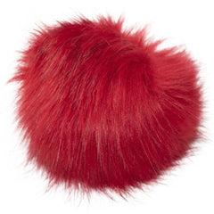 Faux Fur Pom With Loop - Red