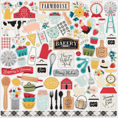 Echo Park Farmhouse Kitchen Cardstock Stickers 12in x 12in  Elements