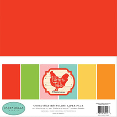 Carta Bella Double-Sided Solid Cardstock 12in x 12in  6 pack - Farm To Table, 6 Colours