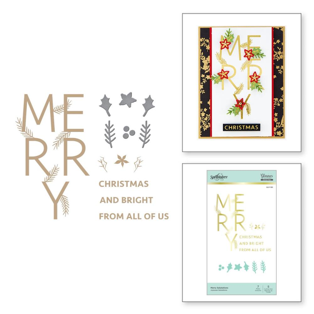 Spellbinders Glimmer Hot Foil Plate & Die Set - Merry Salutations