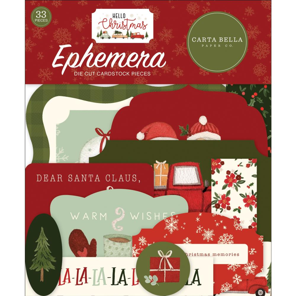 Carta Bella Cardstock Ephemera 33 pack - Icons, Hello Christmas