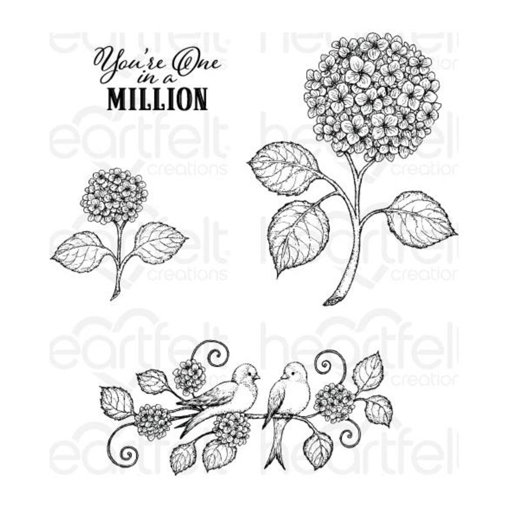 Heartfelt Creations Cling Rubber Stamp Set - Cottage Garden - Fresh Cut Hydrangea - Set of 4