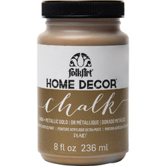 FolkArt Home Decor Chalk Paint Metallic 8oz - Gold