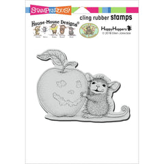 Stampendous House Mouse Cling Stamp - Apple Smile