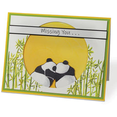 I-Crafter Clear Acrylic Stamps - Playful Pandas - 6.75x3.5 inch set