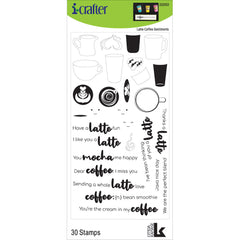 i-crafter Clear Acrylic Stamps - Latte Coffee Sentiments