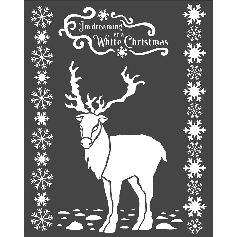 Stamperia Stencil 7.87in x 9.84in - White Christmas Deer, Winter Tales