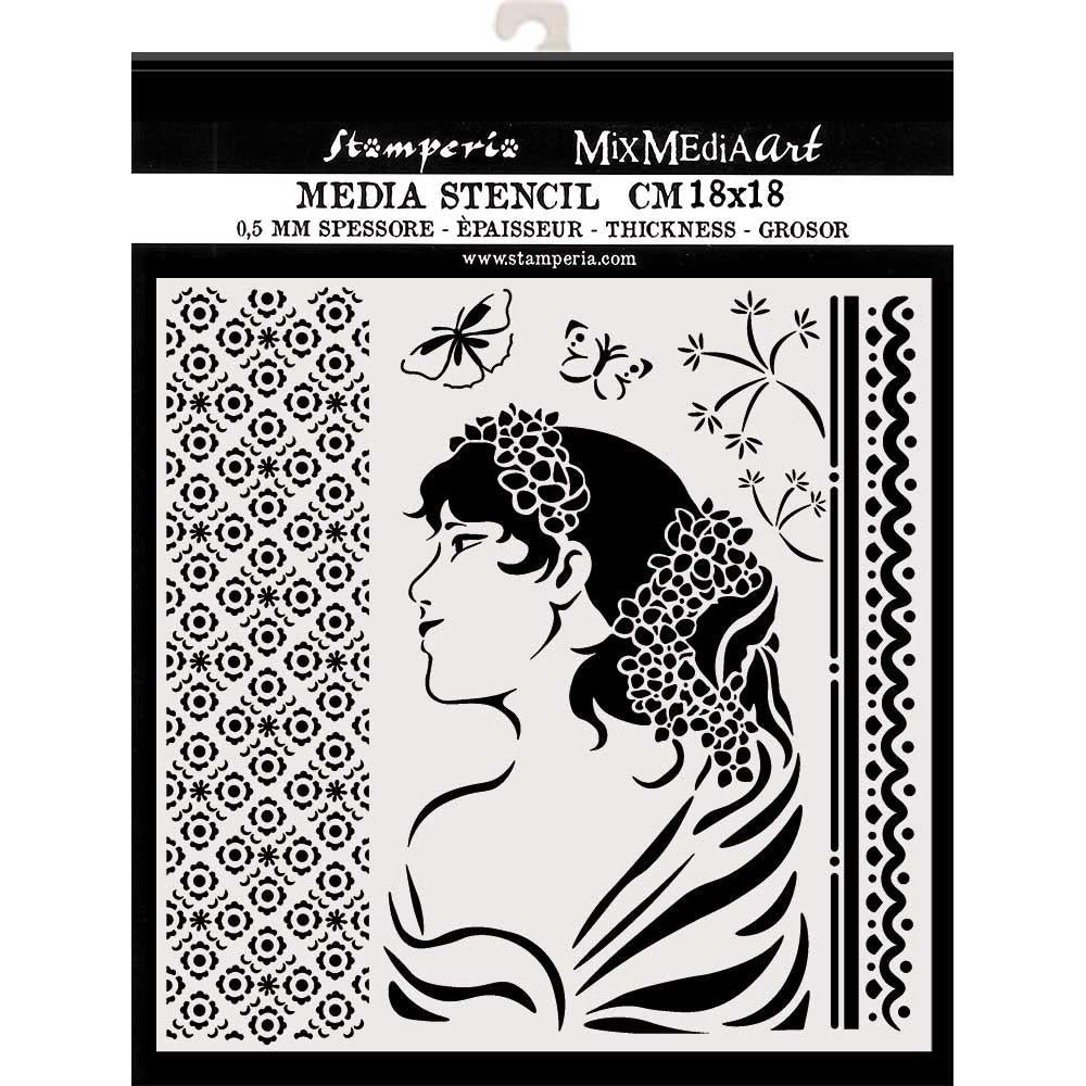 Stamperia Stencil 7.08in X 7.08in - Lady Side, Hortensia