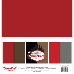 Echo Park Double-Sided Solid Cardstock 12in x 12in  6 pack - Let's Lumberjack, 6 colours