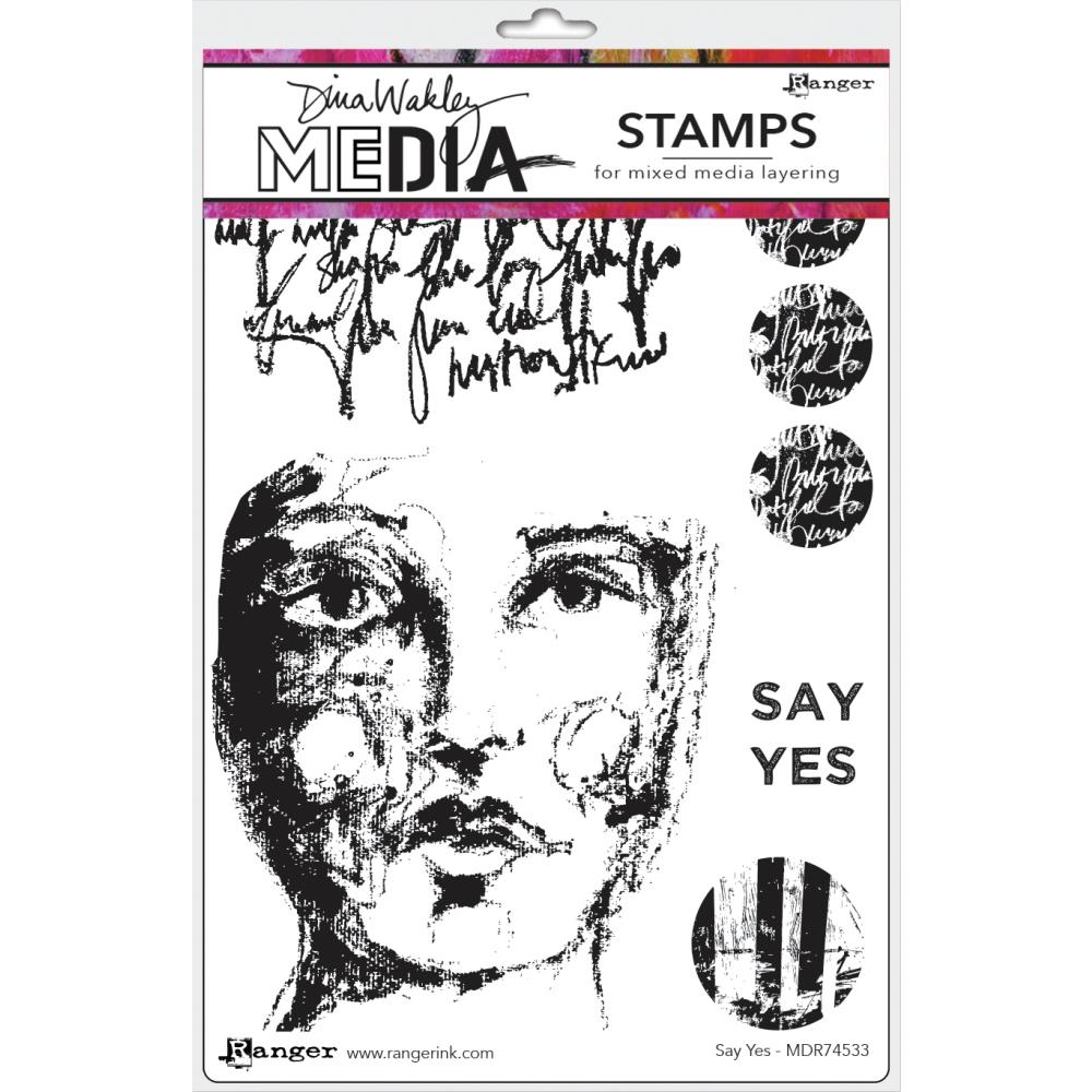 Dina Wakley Media Cling Stamps 6in x 9in - Say Yes