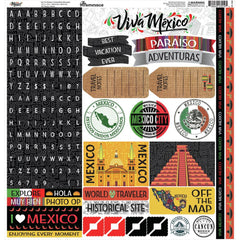 Reminisce Alpha Cardstock Stickers 12in x 12in - Mexico