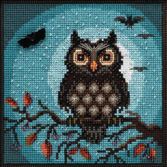 Mill Hill Buttons & Beads Counted Cross Stich Kit - 5in x 5in Midnight Owl (14 Count)