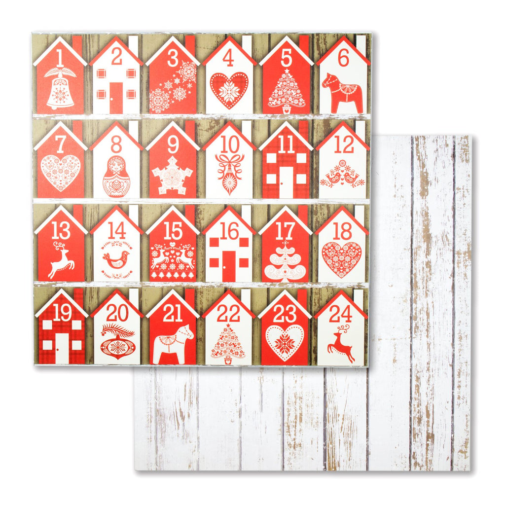 Bo Bunny Merry & Bright Collection 12in x 12in D/Sided Paper Single Sheet - Merry & Bright
