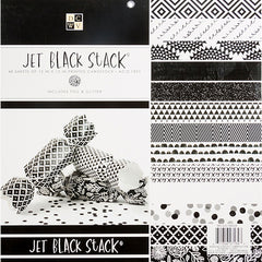 DCWV Single-Sided Cardstock Stack 12in x 12in 48/Pkg - Jet Black, 24 Designs/2 Each