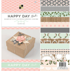 DCWV Single-Sided Cardstock Stack 12in x 12in 48/Pkg - Happy Day, 24 Designs/2 Each