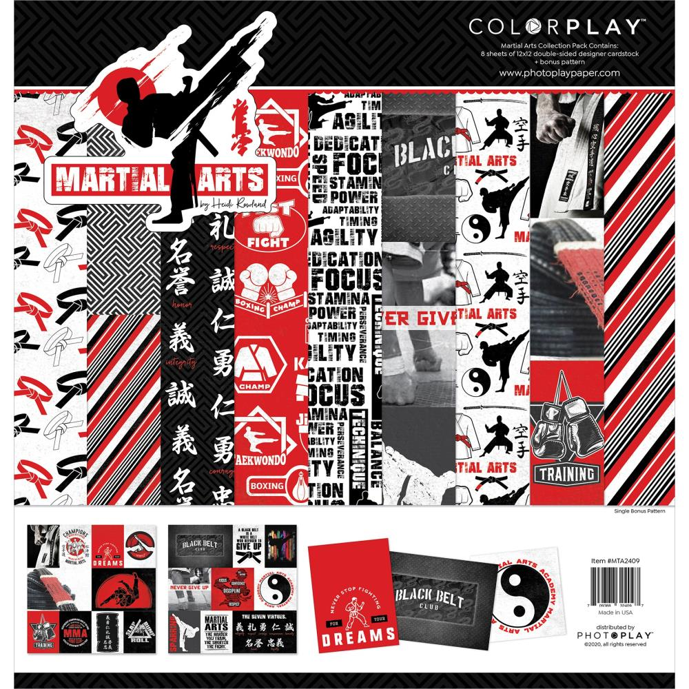 ColorPlay Collection Pack 12in x 12in - Martial Arts, 4 Designs/2 Each +