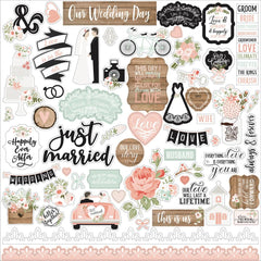 Echo Park Our Wedding Cardstock Stickers 12in x 12in - Elements