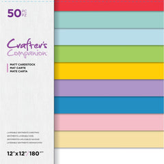 Crafter's Companion Matt Cardstock Pad 12in x 12in  50 pack - Layerable Sentiments Christmas