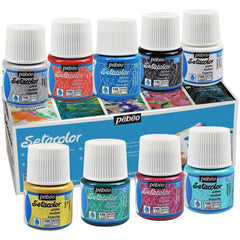Pebeo - Discovery Fabric Paint Set 45ml 10 pack - Setacolour Opaque Light Fabrics Glitter