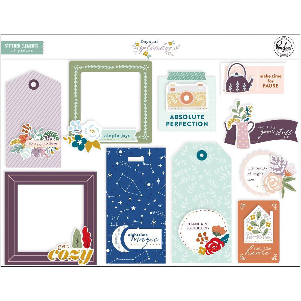 PinkFresh - Days Of Splendour Cardstock Stitched Elements 10 pack