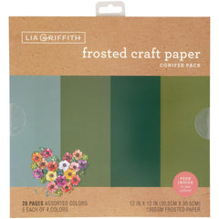 Lia Griffith Frosted Craft Tissue Paper 12in X12in  20 pack - Conifer-Blues