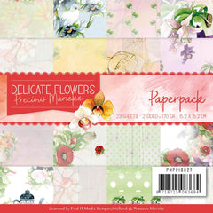 Find It Trading Precious Marieke Paper Pack 6in x 6in  23 pack  Delicate Flowers, Double-Sided