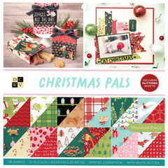 DCWV Double-Sided Cardstock Stack 12in x 12in 36 pack Christmas Pals with Glitter Accents