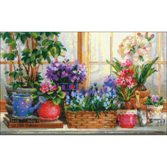 RIOLIS Counted Cross Stitch Kit 15.75in X 9.75in - Windowsill With Flowers (14 count)