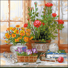 RIOLIS Counted Cross Stitch Kit 9.75in X 9.75in - Crocuses On The Windowsill (14 count)