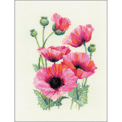 RIOLIS Counted Cross Stitch Kit 9.75in X 13in - Pink Poppies (18 count)