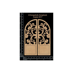 Scrapaholic Laser Cut Chipboard 1.8mm Thick - Arched Flourish Door, 2 pack, 5in x 3.75in