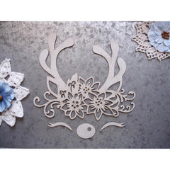 Scrapaholics Laser Cut Chipboard 1.8mm Thick - Reindeer Face, 4 pack, 6in x 5.5in