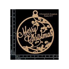 Scrapaholics Laser Cut Chipboard 1.8mm Thick - Merry Christmas Ornament, 4in