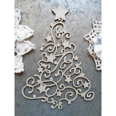 Scrapaholics Laser Cut Chipboard 1.8mm Thick - Swirl Christmas Tree, 5in x 3.5in