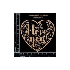 Scrapaholics Laser Cut Chipboard 1.8mm Thick - I Love You Heart, 3.25in x 3.25in