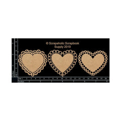 Scrapaholics Laser Cut Chipboard 1.8mm Thick - Mini Lace Hearts, 3 pack, 2.5in x 2.5in