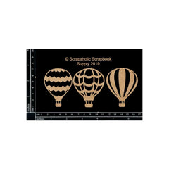 Scrapaholic Laser Cut Chipboard 1.8mm Thick - Hot Air Balloon Set, 3 pack