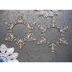 Scrapaholics Laser Cut Chipboard 1.8mm Thick - Snowflake Frames, 2/Pk, 4in x 3.5in