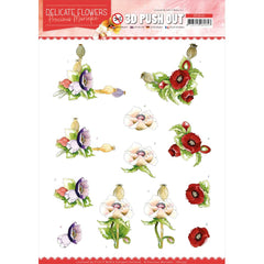Find It Trading Precious Marieke Punchout Sheet - Poppy, Delicate Flowers