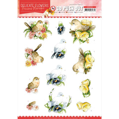 Find It Trading Precious Marieke Punchout Sheet - Birds, Delicate Flowers