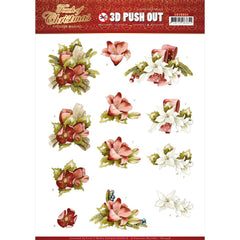 Find It Trading Precious Marieke Punchout Sheet - Red Flowers, Touch Of Christmas