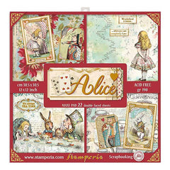 Stamperia Single-Sided Paper Pad 12in x 12in  22 pack - Alice, 22 Designs/1 Each